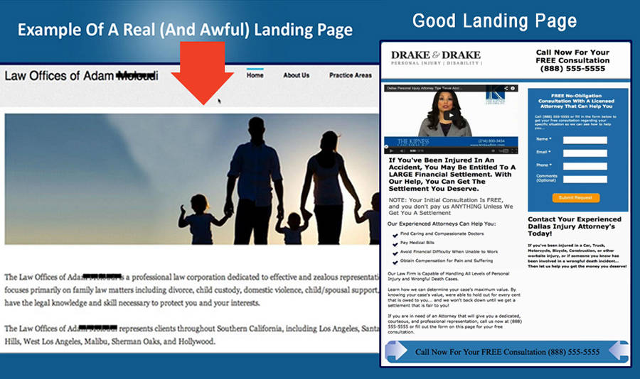 Good vs. Bad Landing Page for PPC