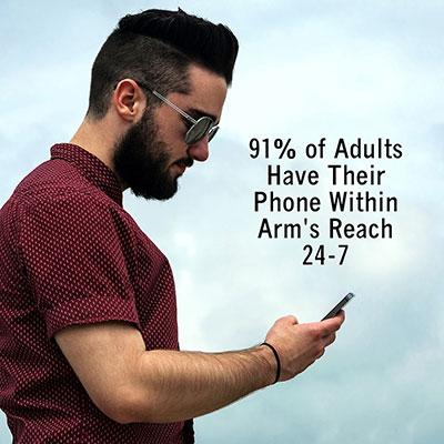 SMS Statistics Man texting