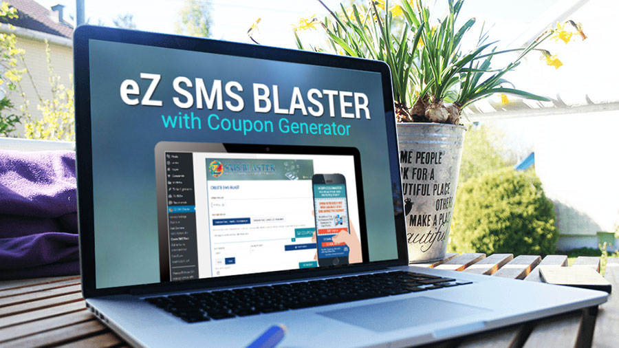 eZ SMS Blaster with Coupon Generator on Laptop