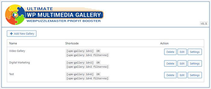 Ultimate WP Multimedia Gallery Admin