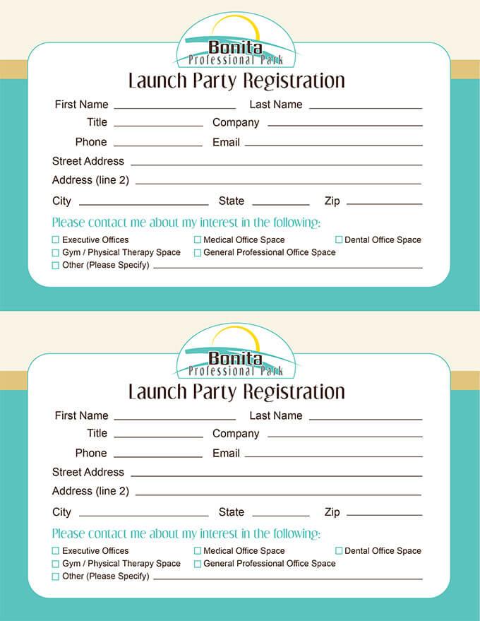 Professional Park Project Launch Registration Cards