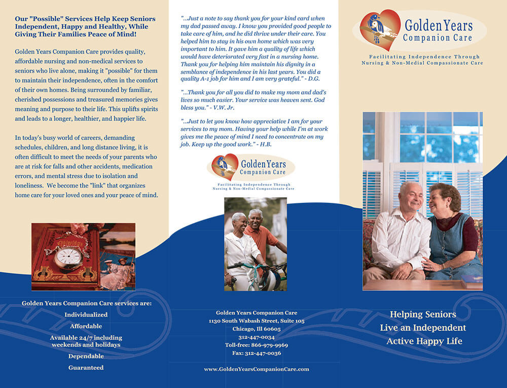 Golden Years Project Trifold Brochure Outside Design