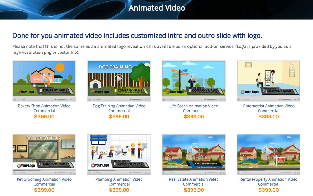 DFY VIdeo Store Animated Videos