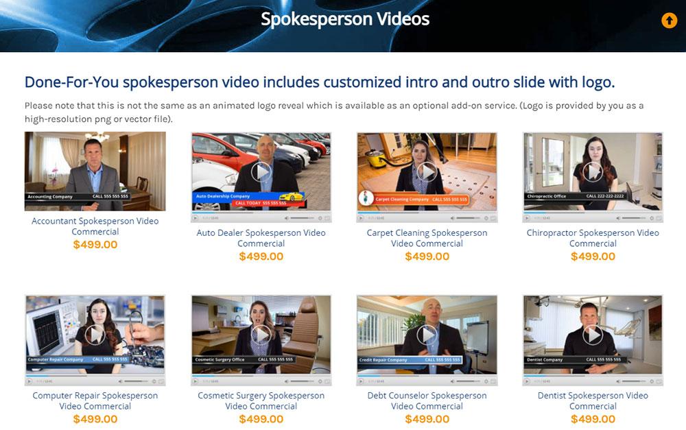 DFY VIdeo Store Spokesperson Videos