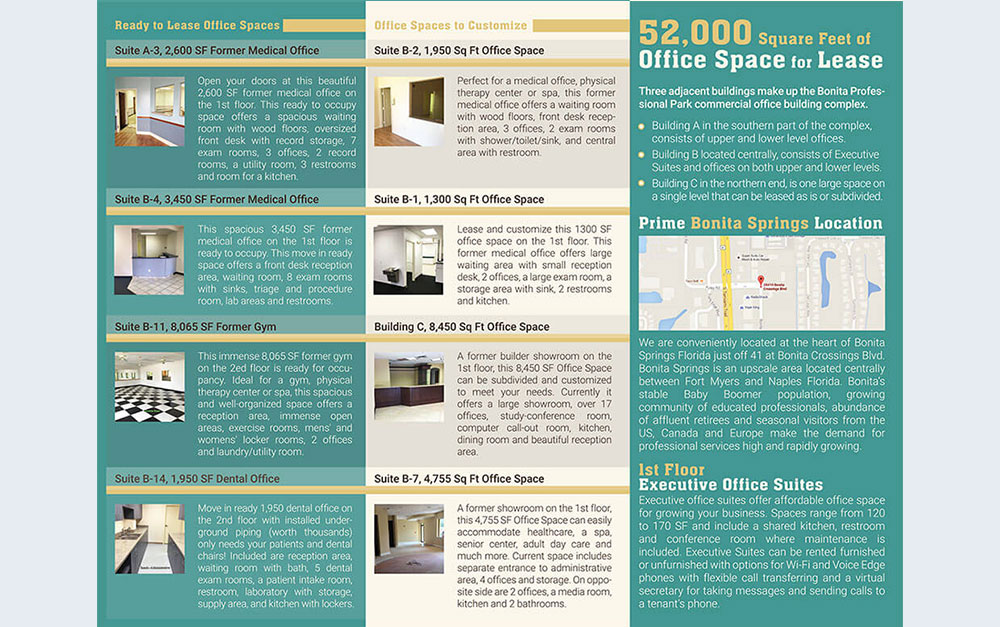 Professional Office Park Trifold Brochure Inside