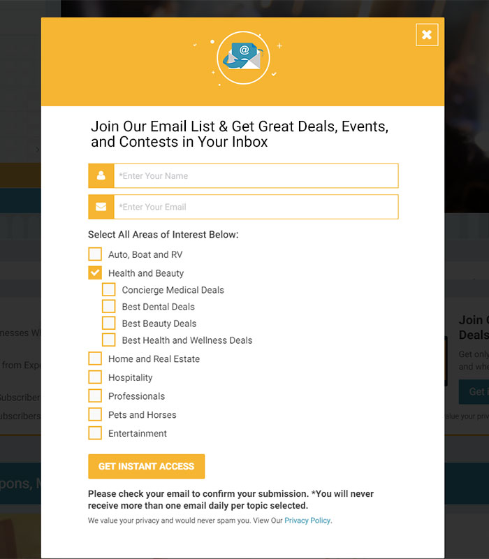 Local Business Deal Event Marketplace Directory Opt-In Email
