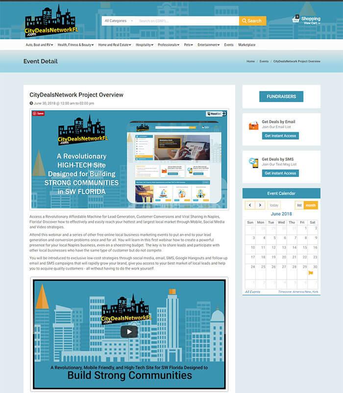 City Deals Network Project Web Page Design for Event Details