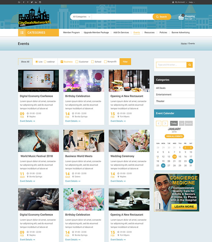 Local Business Deal Event Marketplace Directory Event Section