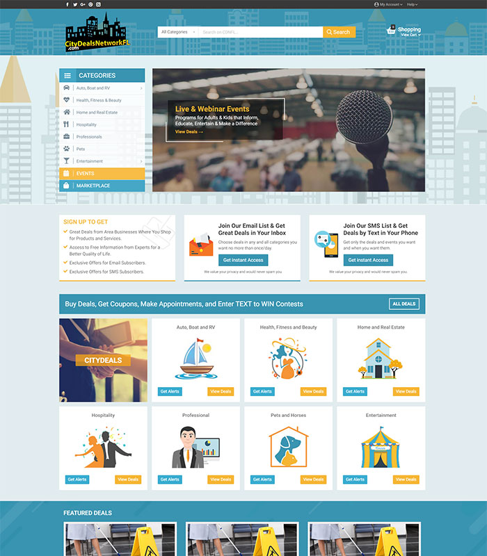 Local Business Deal Event Marketplace Directory Home Page