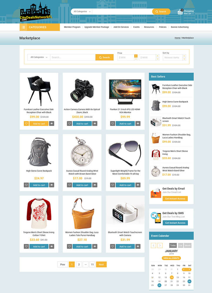 City Deals Network Project Web Page Design for Marketplace