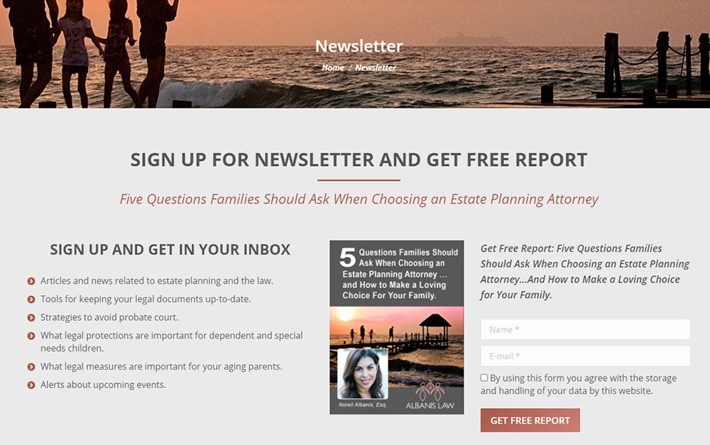 Estate Attorney Website Newsletter Page