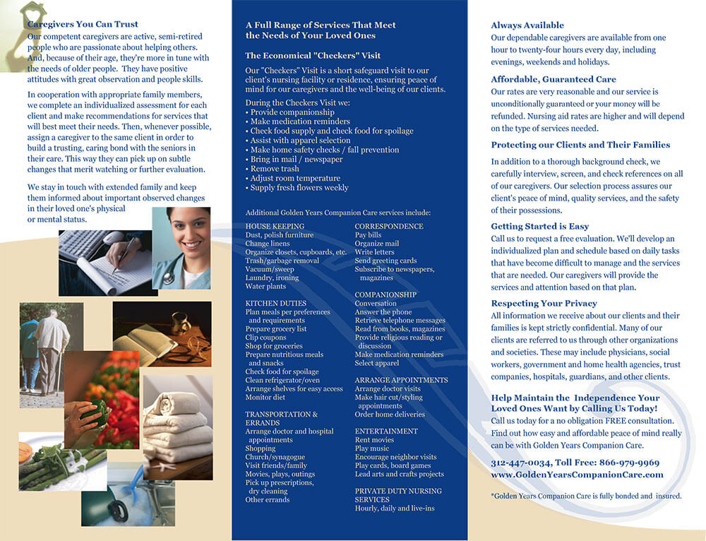 Golden Years Project Trifold Brochure Inside Design