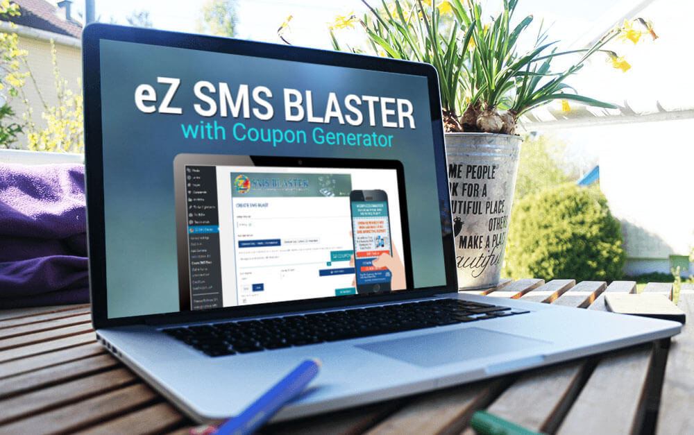 eZ SMS Blaster with Coupon Generator on Computer