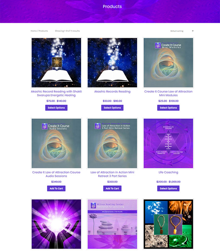 Holistic Healing, Coaching Website Store Products