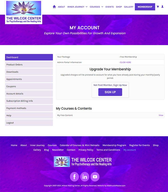 Holistic Healing, Coaching Website Customer Admin