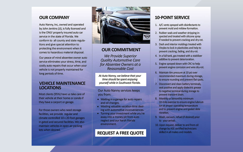 Absentee Owner Auto Services Trifold Brochure Inside