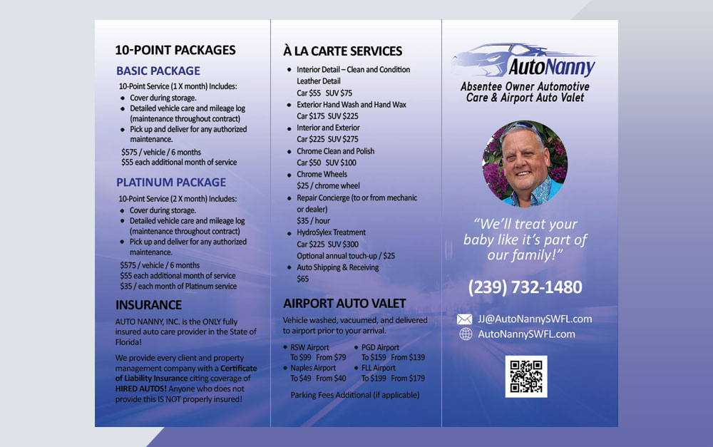 Absentee Owner Auto Services Trifold Brochure Outside